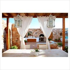 Exterior table and chairs under canopy - Image No: 0057550 - GAP Interiors - Picture library specialising in Interiors, Lifestyle Rooms & Homes Outdoor Spaces, Outdoor Living, Outdoor Decor, Portable Shelter, Pool Lounge, Outdoor Curtains, Rooftop Terrace, Interior Photography, Back Patio