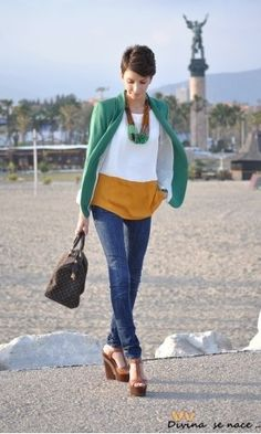 Mustard and white blouse, teal cardigan, turquoise jewelry