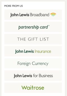 Clear presentation of the different 'shops' within the JohnLewis group