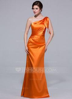 Bridesmaid Dresses - $99.99 - Sheath One-Shoulder Floor-Length Charmeuse Bridesmaid Dress With Ruffle (007037254) http://jjshouse.com/Sheath-One-Shoulder-Floor-Length-Charmeuse-Bridesmaid-Dress-With-Ruffle-007037254-g37254