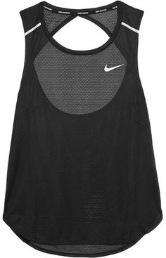 Nike - Breathe Open-back Stretch-mesh Tank - Black