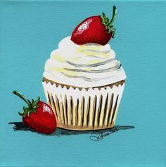 Strawberry Shortcake Cupcake Painting Print от DianaEvans на Etsy