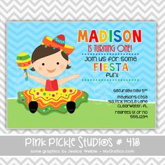 Mexican Fiesta Birthday Party Invitation For Boy Or Girl - Birthday party invitation in spanish