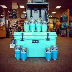 Spring is here at Omega! Come check out the limited edition YETI Seafoam and Tahoe Blue Tumblers and Seafoam Tundra coolers, available in a variety of sizes! And the brand new YETI Hopper 2 soft cooler is trying to sneak its way in this photo too... 😄 #spring #yeti #builtforthewild #newarrivals #omegasports #shoplocal