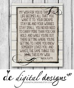 Rascal Flatts Song Wood 8x10 Girl or Boy by DCDigitalDesigns  sc 1 st  Pinterest & This is My Wish For You Rascal Flatts Song Christmas Gift Wood Sign ...