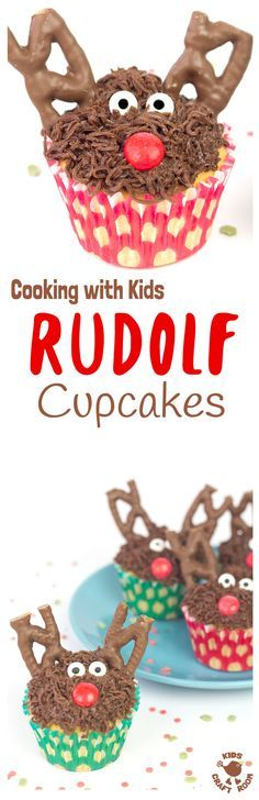 REINDEER CUPCAKES CHRISTMAS RECIPE - No one can resist these tasty and cute Rudolf Cupcakes. An easy Christmas recipe for cooking with kids over the holidays. A fun festive family treat!   #ReindeerRecipe #ChristmasTreats