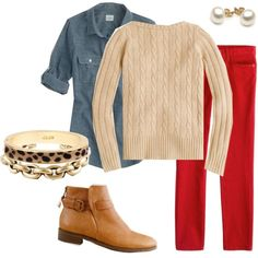 red skirt and denim shirt Red Pants Outfit, Red Skirts, Complete Outfits, Work Attire, Women's Clothes, Clothes For Women, Denim Shirt, Colored Jeans, Autumn Winter Fashion