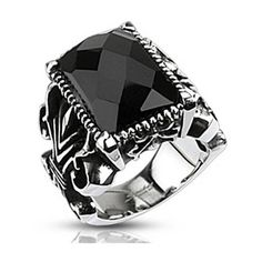 Men's West Coast Jewelry Stainless Steel Rectangle Onyx Faceted Stone... ($20) ❤ liked on Polyvore featuring men's fashion, men's jewelry, men's rings, jewelry & watches, rings, silver, mens onyx rings, mens gothic rings, mens stainless steel rings and mens watches jewelry