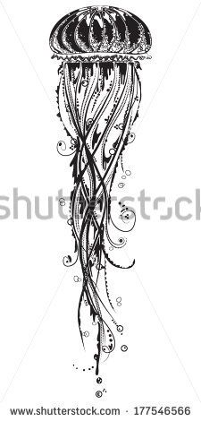 Vector illustration of a jelly fish in black and white graphic style - a tattoo template by soosh, via Shutterstock