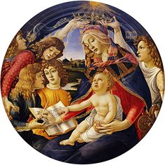 Paintings by Botticelli which use the Medici family as models: Madonna of the Magnificat shows Lucrezia as the Madonna, surrounded by her children with Lorenzo holding a pot of ink