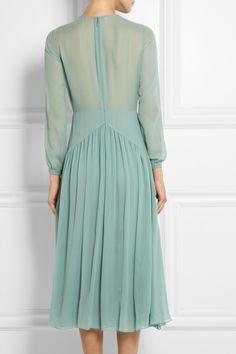 Burberry Prorsum|Silk-chiffon midi dress|NET-A-PORTER.COM