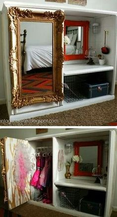 Converted TV Entertainment Center into a kids dream dress-up area