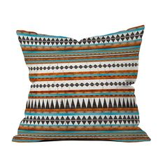 Heat up your seat with the Southwestern cool of this chic poly pillow. A naturally-inspired combination of ivory, clay, and turquoise gives depth to the crackled interplay of slender geometric patterns...  Find the Pecos Stripe Pillow, as seen in the Modern Aztec Collection at http://dotandbo.com/collections/in-style-modern-aztec?utm_source=pinterest&utm_medium=organic&db_sku=91705