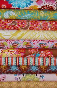cotton fabric OOP Anna Maria Horner field study Raindrops Poppies Platinum