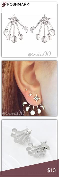 🆕Moon & Stars Silver Boho Jacket Stud Earrings! Jacket Style Earrings are On Trend again this year, with many fun Adorable styles to choose from! These match any Fashion Style & can easily be dressed up or down!👌 • Available in Gold in Separate listing•  * 2 Ways to Wear in 1! Wear Jacket Style -or- Stud Alone! * Mix & Match your Styles by Wearing different Studs with the Jackets!  - Hypoallergenic, Lead & Nickel Free Gold Plating  *NO TRADES *Prices are FIRM-Listed at Lowest Price Unless…