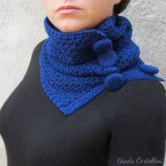 Scaldacollo sciarpa collo lana uncinetto pervinca azzurro-grigio Natale regalo per lei lana crochet inverno accessori invernali
