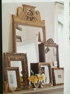 From Best of Flea Market Style - love this idea for a mantel.
