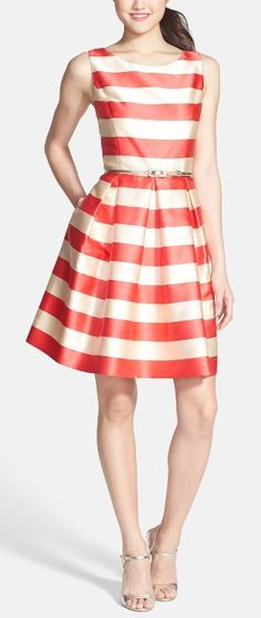Stripe Fit Flare dress for a festive fourth!