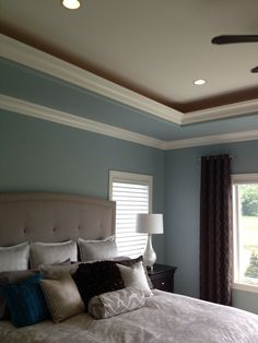 tray ceiling design ideas pictures remodel and decor page 6 family room addition ideas pinterest carpet colors ceiling design and trays - Bedroom Ceiling Color Ideas