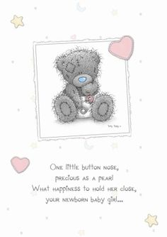 Tatty Teddy Personalised New Baby Girl Cards