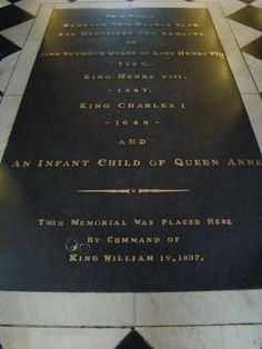 King Henry VIII, Jane Seymour & an Infant Child of Anne Boleyn's Grave at Saint George's Chapel in Windsor Castl