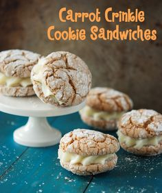 Carrot Crinkle Cookie Sandwiches - These sound incredible - especially the cinnamon cream cheese frosting!  I can't believe they start with a simple boxed carrot cake mix!  This is a must make!