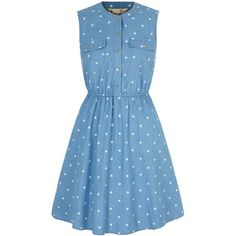 Yumi Polka Dot Print Denim Shirt Dress ($93) ❤ liked on Polyvore featuring dresses, blue, women, skater dress, denim dress, sleeveless skater dress, retro dress and blue skater dress