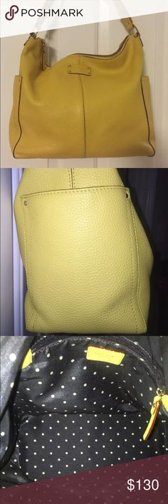 Kate Spade Yellow Leather Handbag It is made of fine Italian leather and it is in very good pre-owned condition. There are no stains or marks on the outside or inside. The inside strap of the bag shows some wear, but it is not visible once it is on the shoulder. Very roomy and functional handbag! It will be shipped in its original dust bag and authenticity card. This handbag was purchased by me at Kate Spade store in NYC. 