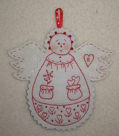 » Redwork Christmas Angel Ornament