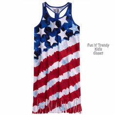 NWT Justice Girls Size 8 10 Stars & Stripes Patriotic 4th of July Nightgown NEW #Justice #Nightgown #4thofJuly