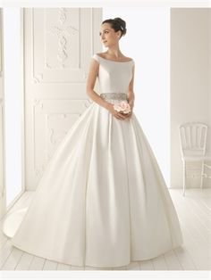 White Ball Gown Beading Satin 2014 Wedding Dress