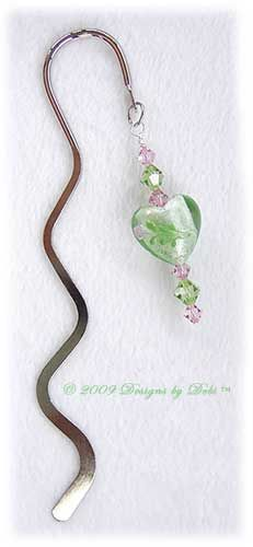 Designs by Debi Handmade Jewelry Lime Green and Pink Hearts and Crystal Silver Squiggle Shepherd's Hook Bookmark