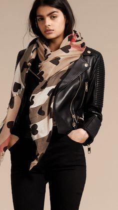 Heart and Check Modal and Cashmere Scarf Camel/black | Burberry