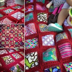 Crochet fusion blanket. Fabric/crochet