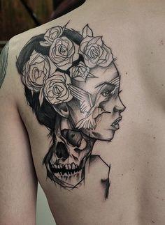 Stunning tattoo of a lady's head.