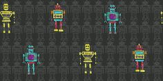 Retro Robot (534000) - Albany Wallpapers - A friendly robot motif design with an all over pattern, highlighted with individual characters. Shown in the bright colours on black version. Other colourways available. Please request a sample for true colour match.