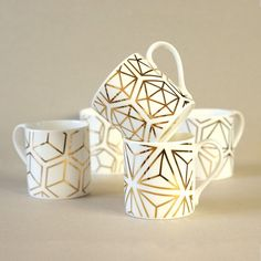 Set of five gold Platonic Solids mugs – Alfred And Wilde