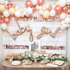 Mar 2018 - Looking for a beautiful DIY rose gold baby shower party setup? Shop this easy DIY balloon garland kit and baby girl balloons! Deco Baby Shower, Cute Baby Shower Ideas, Shower Bebe, Gold Baby Showers, Baby Shower Balloons, Baby Shower Favors, Shower Party, Baby Shower Parties, Baby Balloon