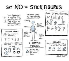Better Drawing Tired of seeing stick figures in your student projects? Here's a guide to how you can draw better people. - Tired of seeing stick figures in your student projects? Here's a guide to how you can draw better people. Middle School Art, Art School, High School, Classe D'art, Art Worksheets, Ecole Art, Poses References, Sketch Notes, Teaching Art