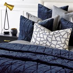 Urban Indigo Quilted Velvet Bedding Collection | Nautical Luxuries