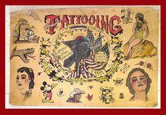 Vintage tattoo flash with Mickey Mouse Tattoo Museum, Carnival Inspiration, Tattoo Flash Art, Tattoo Art, Traditional Tattoo Flowers, Tiger Rug, History Tattoos, Sick Tattoo, Tattoo Signs
