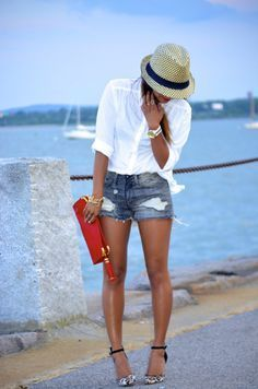 white shirt,shorts and those heels <3