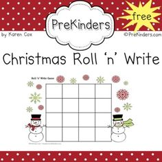 This Roll and Write game encourages children to practice writing. Children roll a letter die and write the letter in a square. Christmas Math, Preschool Christmas, Christmas Ideas, Christmas Crafts, Xmas, Writing Games, Math Games, Writing Letters, Preschool Literacy