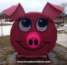 Busy Barns Farm Pink Pig Round Bale Art