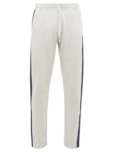 REIGNING CHAMP-pants-REIGNING CHAMP - SIDE STRIPE COTTON JERSEY TRACK PANTS - MENS - GREY. #reigning-champ #pants Track Pants Mens, Reigning Champ, Navy Stripes, French Terry, Drawstring Waist, Champs, Heather Grey, Sportswear