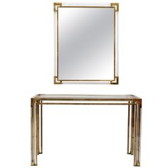 Lucite and Gold Brass Console and Mirror by Romeo Rega 1960-70 | From a unique collection of antique and modern console tables at http://www.1stdibs.com/furniture/tables/console-tables/
