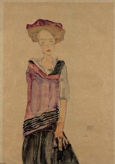 Egon Schiele, Stehendes Mädchen - Standing Girl | 1910 | © Albertina, Wien #Art #EgonSchiele #Schiele #Kunst