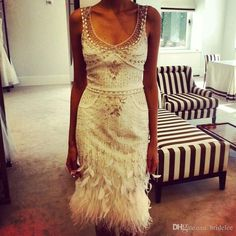 Free shipping, $171.73/Piece:buy wholesale White Luxury Beaded Short Cocktail Dresses 2015 Knee Length Sheath Prom Dresses Evening Party Gown Feathers vestidos con plumas from DHgate.com,get worldwide delivery and buyer protection service.