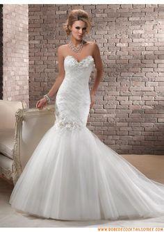 Robe de mariée sirène blanche 2013 fleurs appliques tulle