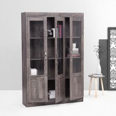 Fab Home Garston Three Door Book Cabinet Slate Grey